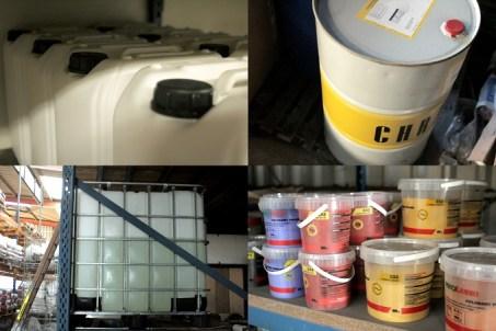 fibres polypropylène, adjuvants liquides ou en poudre, huiles minérales et végétales, oxydes liquides ou en poudre.