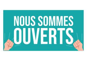 Read more about the article COVID 19 – NOUS SOMMES OUVERTS