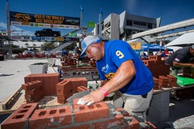 Mario Landeros placing SPEC MIX mortar