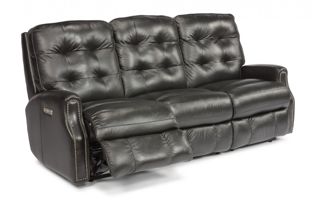 reclining sofa with nailhead trim sealy convertibles canada 388162h in by flexsteel ann arbor mi devon leather power headrests and