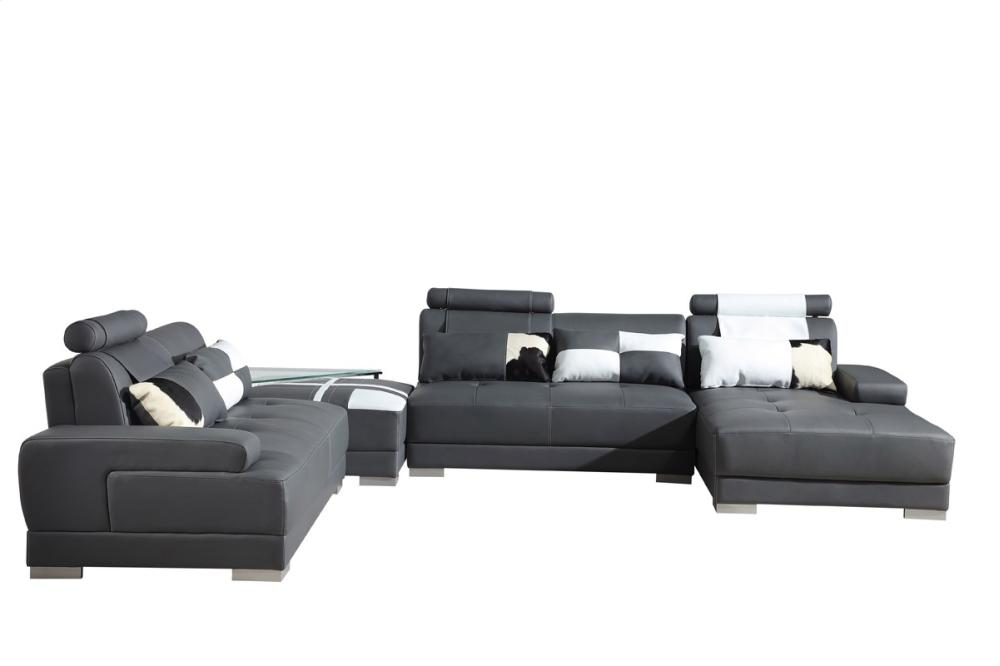 phantom contemporary grey leather sectional sofa w ottoman refurbished vgev5005grey in by vig furniture divani casa modern with and glass end table