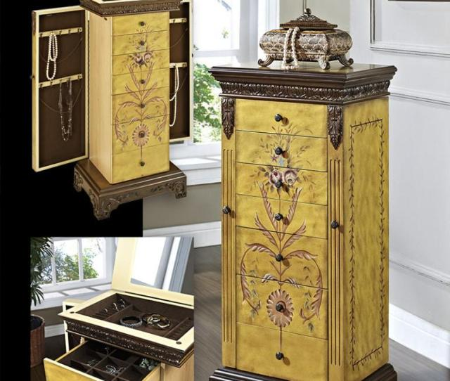 Masterpiece Antique Parchment Hand Painted Jewelry Armoire Hidden