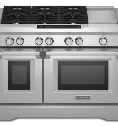 kitchenaid 48 6 burner with griddle dual fuel freestanding range commercial style stainless steel [ 1000 x 908 Pixel ]