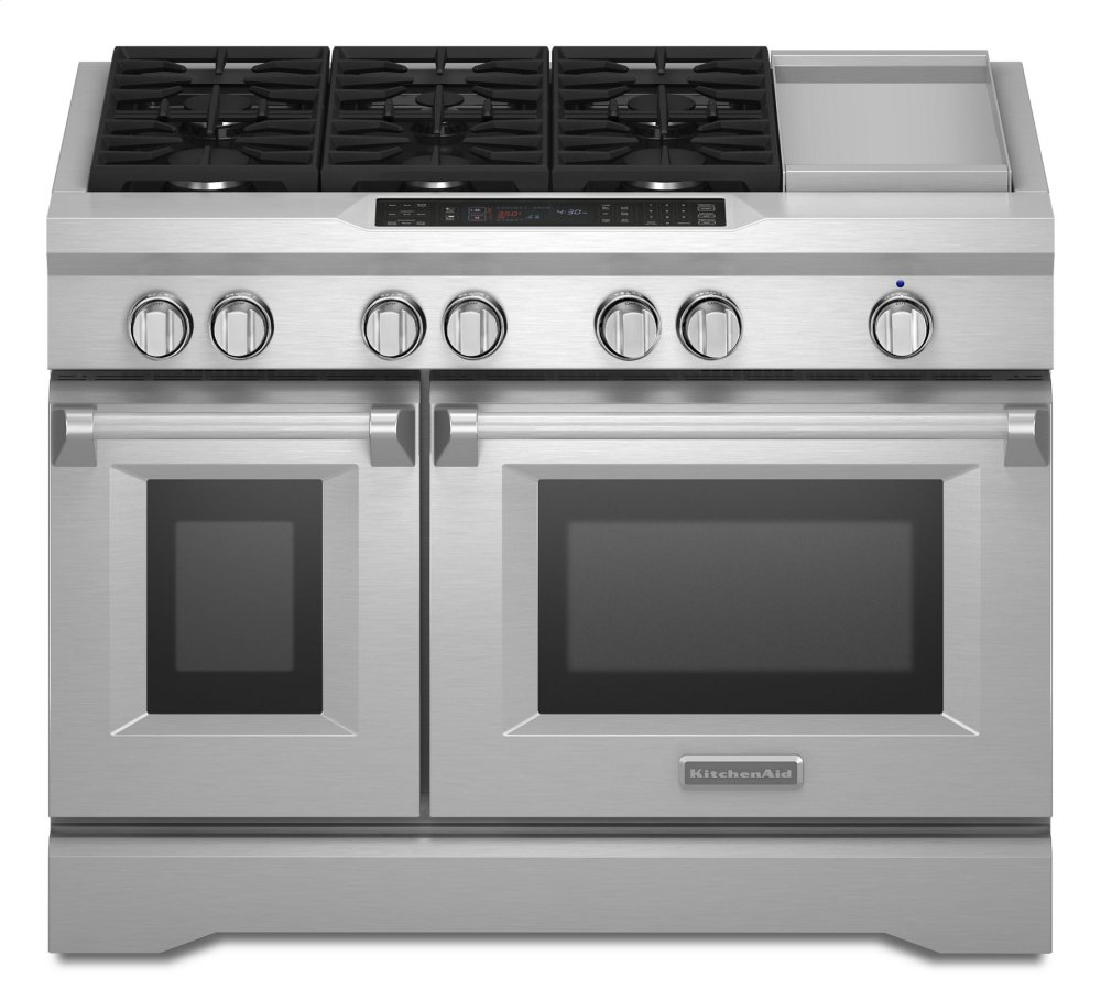 medium resolution of kitchenaid 48 6 burner with griddle dual fuel freestanding range commercial style stainless steel