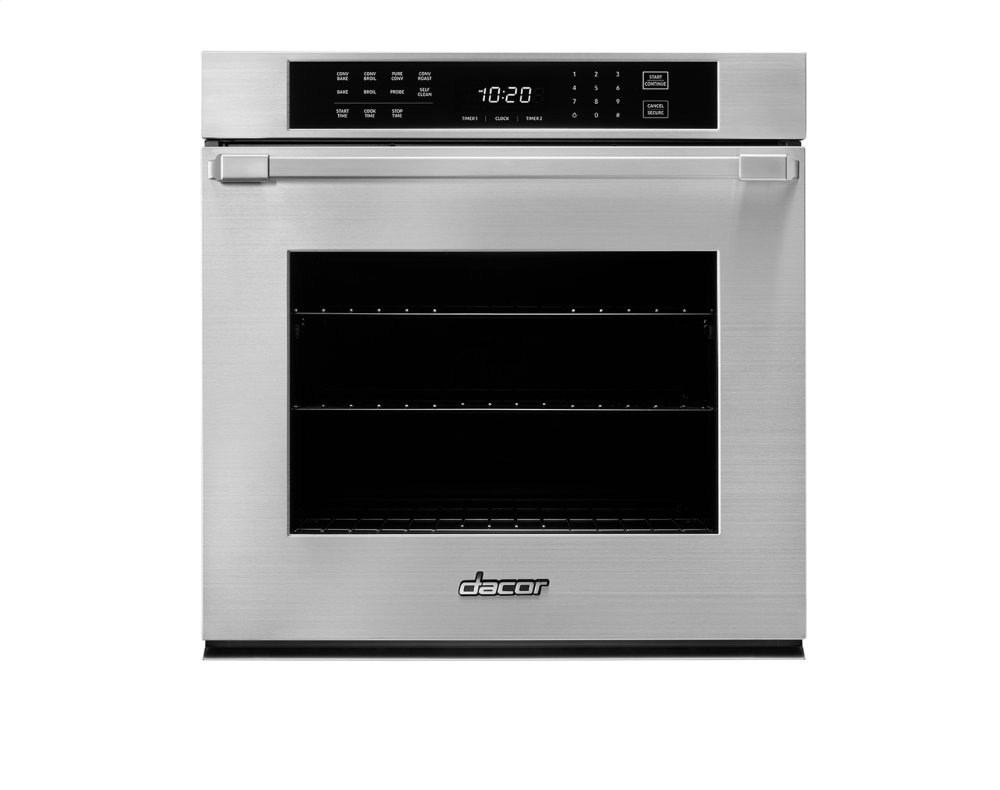 hight resolution of heritage 30 single wall oven silver stainless steel with epicure style handle