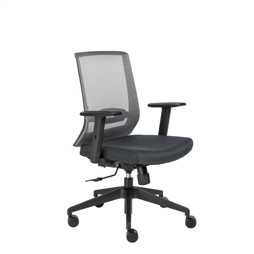 office chair with adjustable arms bungee lounge 17278gry in by euro style fiona gray mesh back and black fabric seat