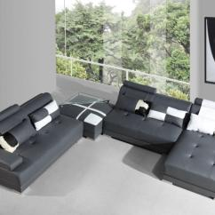 Phantom Contemporary Grey Leather Sectional Sofa W Ottoman Tear Glue Vgev5005grey In By Vig Furniture Divani Casa Modern With And Glass End Table