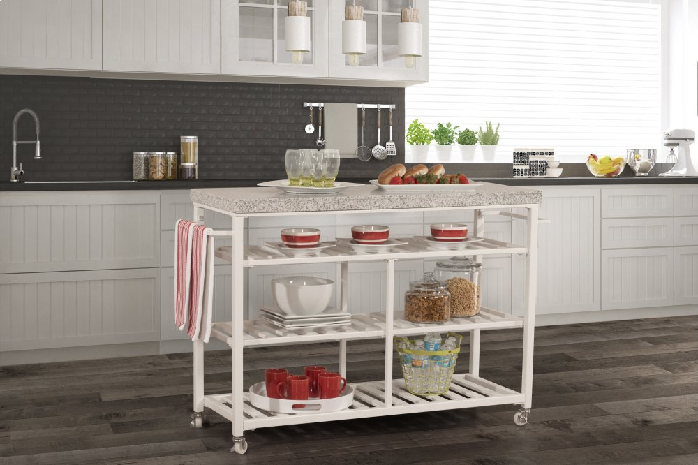 granite top kitchen cart small rustic table 4701861g in by hillsdale furniture fredericksburg va kennon white with