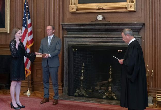 Amy Coney Barrett being sworn in as Supreme Court Justice.