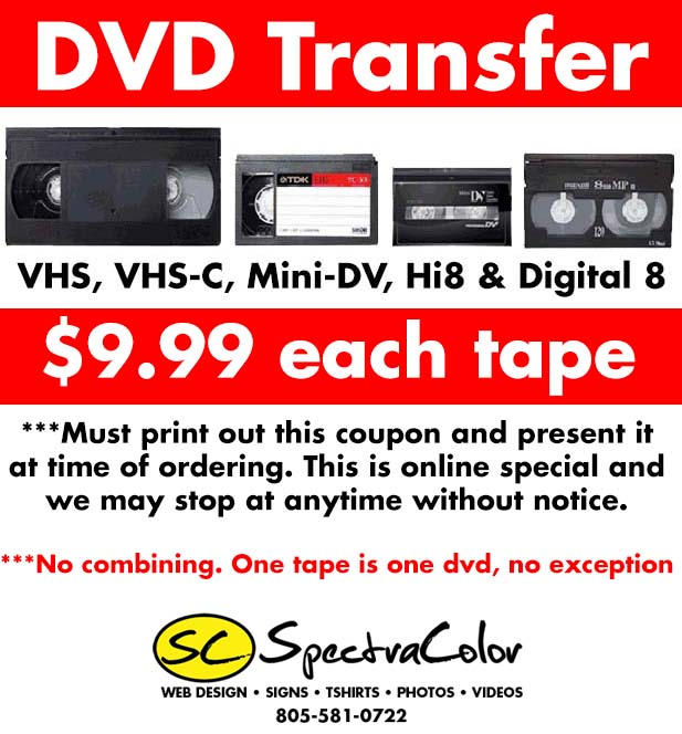 9 99 Vhs To Dvd Transfer Special For Thousand Oaks Ca