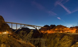 Hoover Dam Bypass Bridge at Sunset