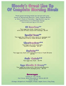 Morning Meals Menu