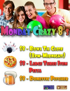 monday crazy 8's bowling