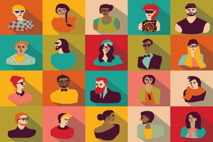 Illustration of diverse people exploring identity.