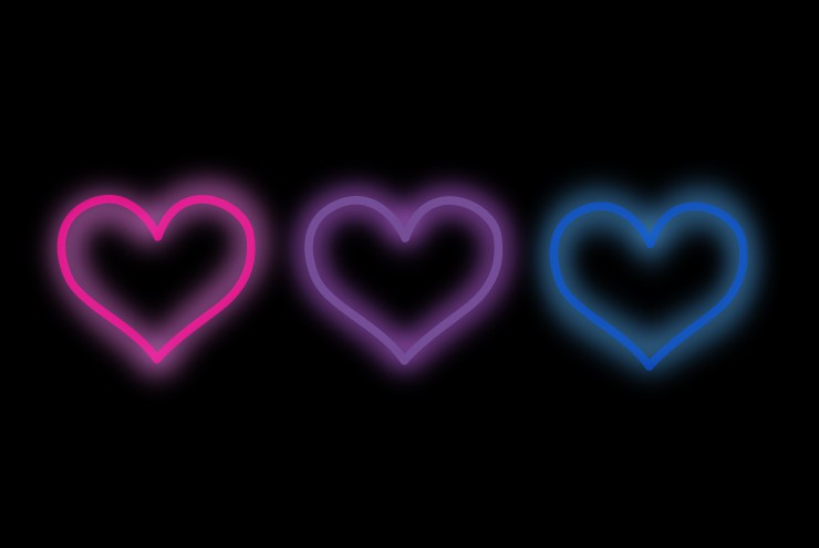 An illustration of three bisexual hearts.