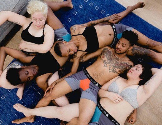 A photo of queer people in Pyramid Seven underwear.