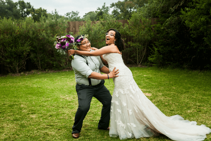 A photo of Sasha Lamprea and Natalie Arrevalo's queer southern wedding.