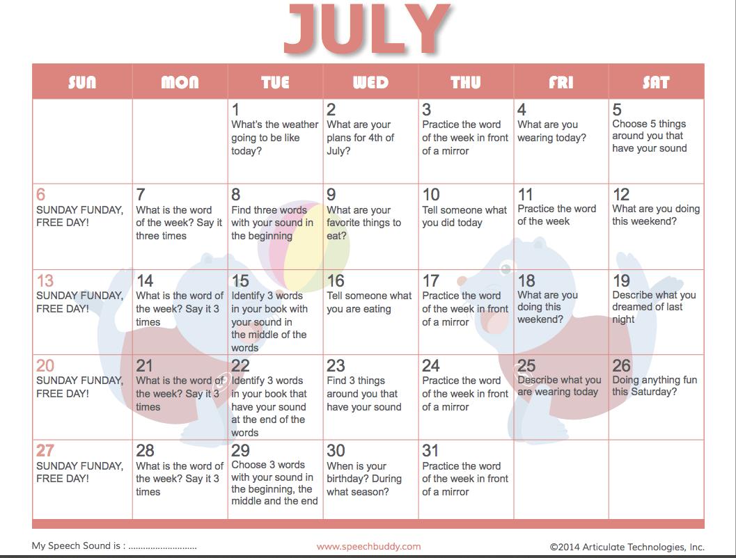 Speech Buddies Summer Fun Activities Calendar