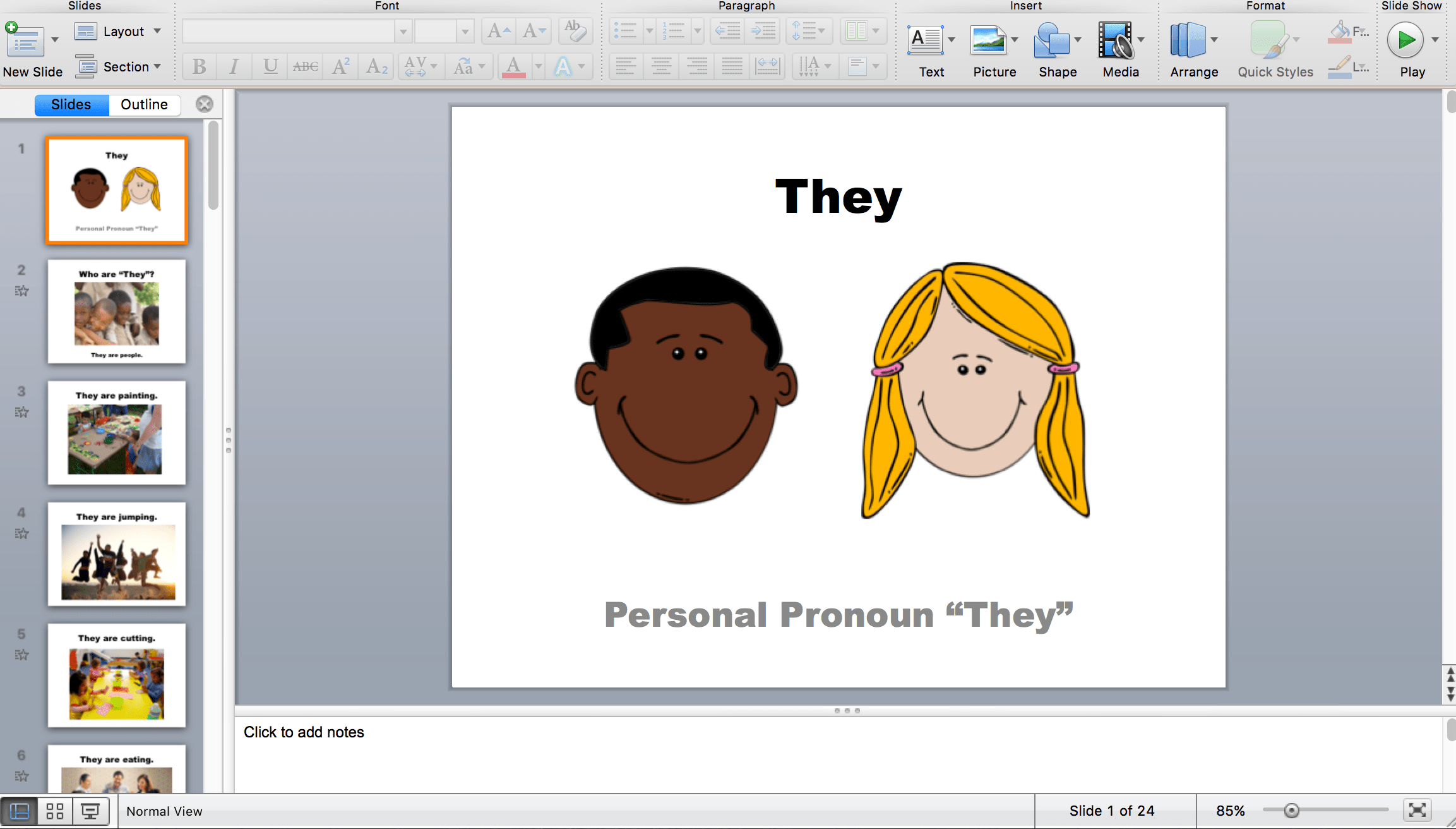 Personal Pronouns He She They