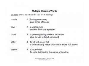 matching multiple meaning words