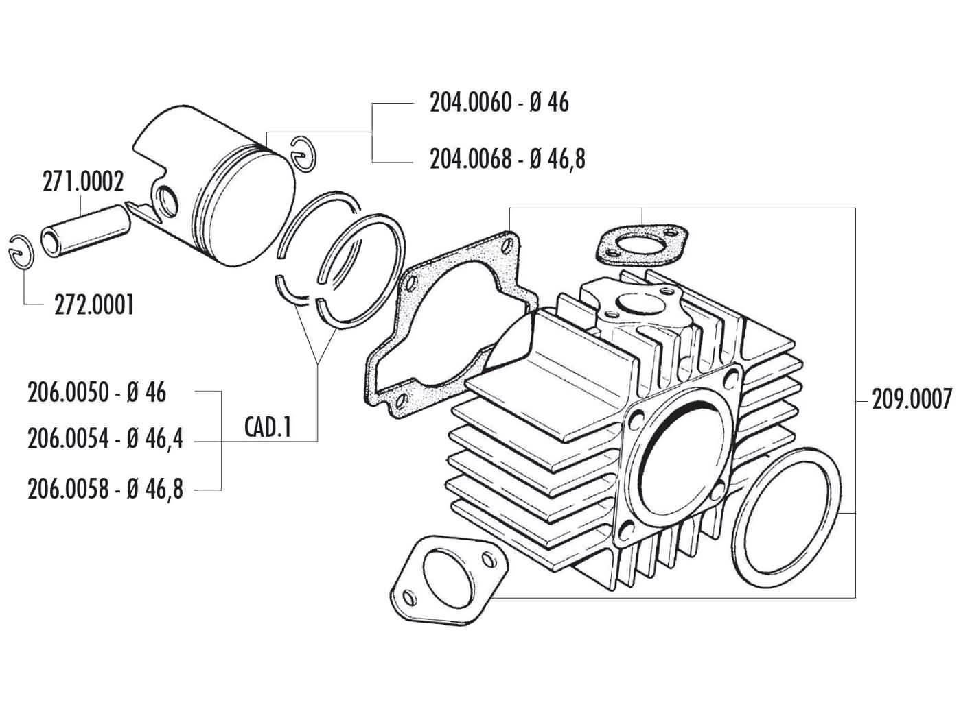 Cilinder Pakkingset Polini Sport 70cc 46mm voor Garelli