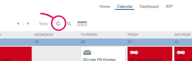Trainingpeaks Kalender aktualisieren