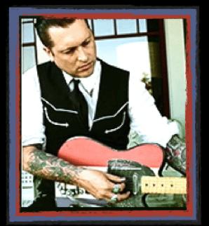 Timbo plays custom steel castor James Trussart guitar