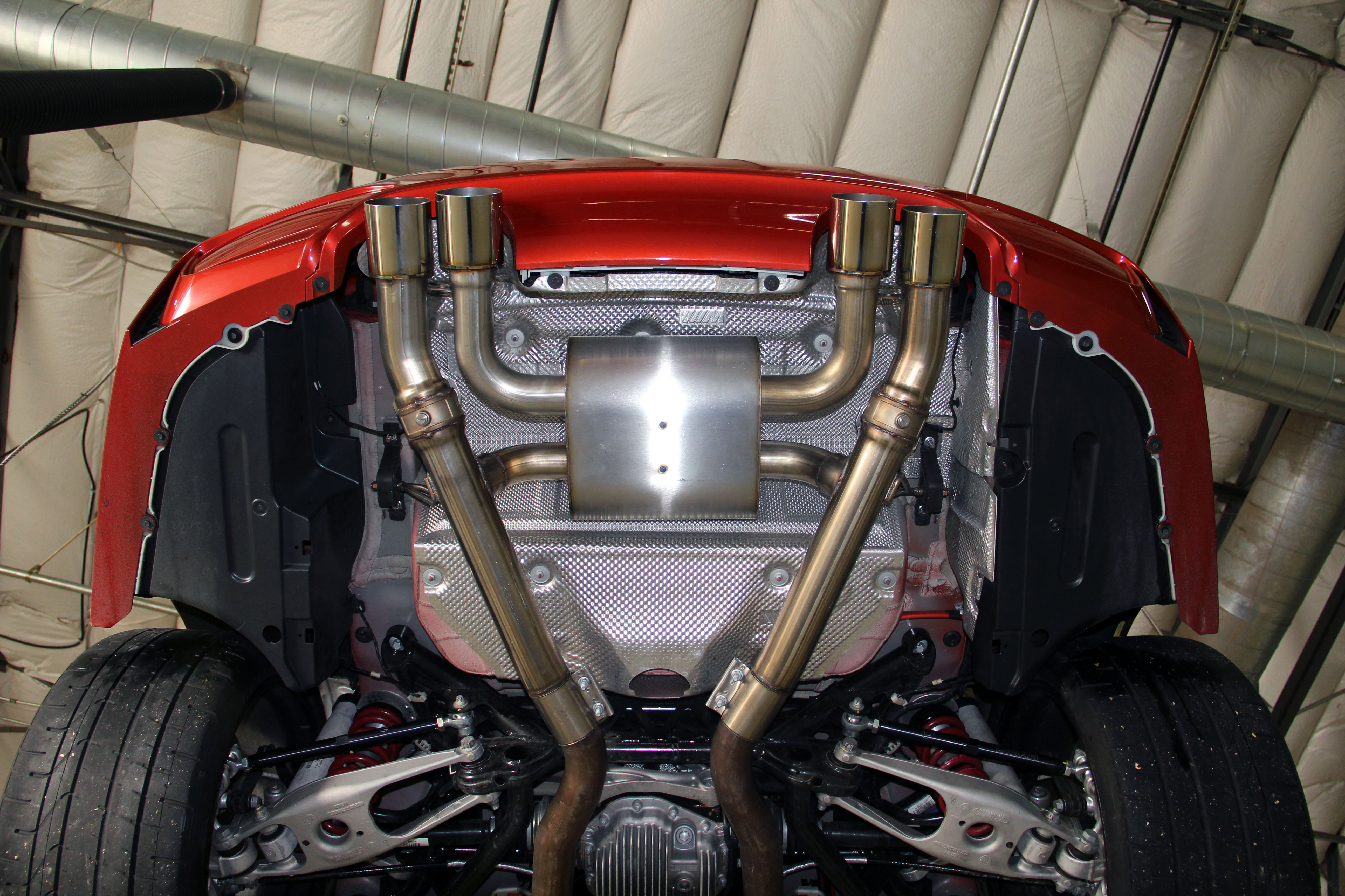 dinan free flow stainless exhaust with polished tips bmw m3 m4 f80 f82