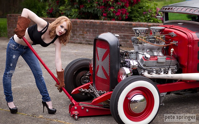 Little Peanut Girl Wallpaper A Hot Redhead With A Red Hot Rod Rod Authority