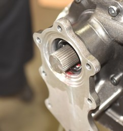 the necessary shortening right of the 4l80e output shaft was performed with a cut off wheel the cut and cleaned up transmission output shaft below is  [ 1200 x 801 Pixel ]