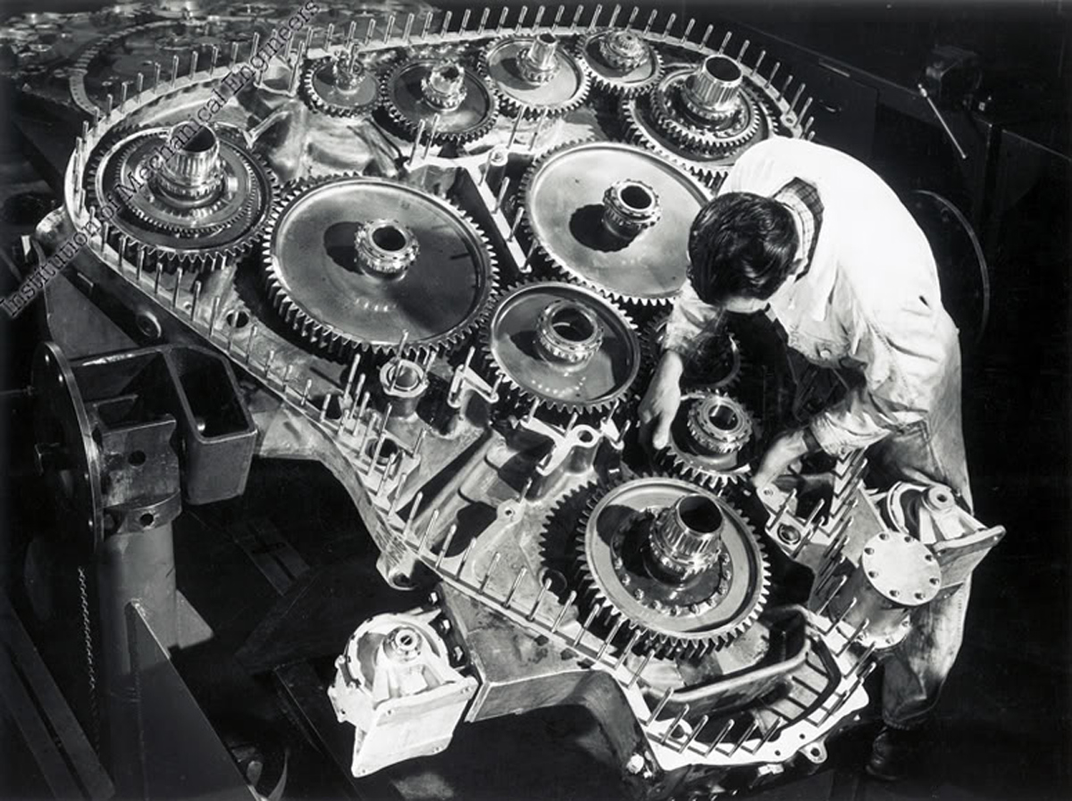 hight resolution of the technician working on the gear case from the rear of a deltic provides a dramatic illustration of the engine s size
