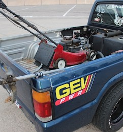 the lawn mower and weed whacker are actually secured to the truck s frame by 1 2 inch bolts ensuring they won t go anywhere when it s being raced  [ 1200 x 800 Pixel ]
