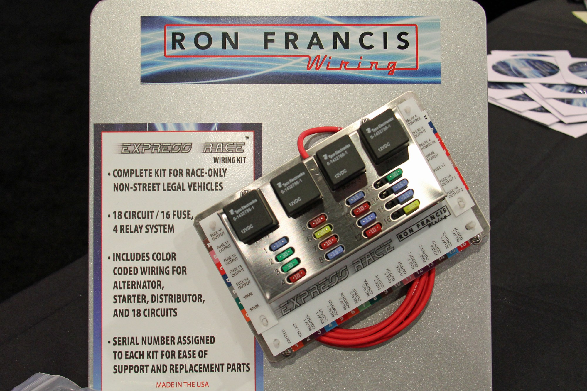 hight resolution of sema 2017 express race wiring system from ron francis wiring besides eight additional fuses and an