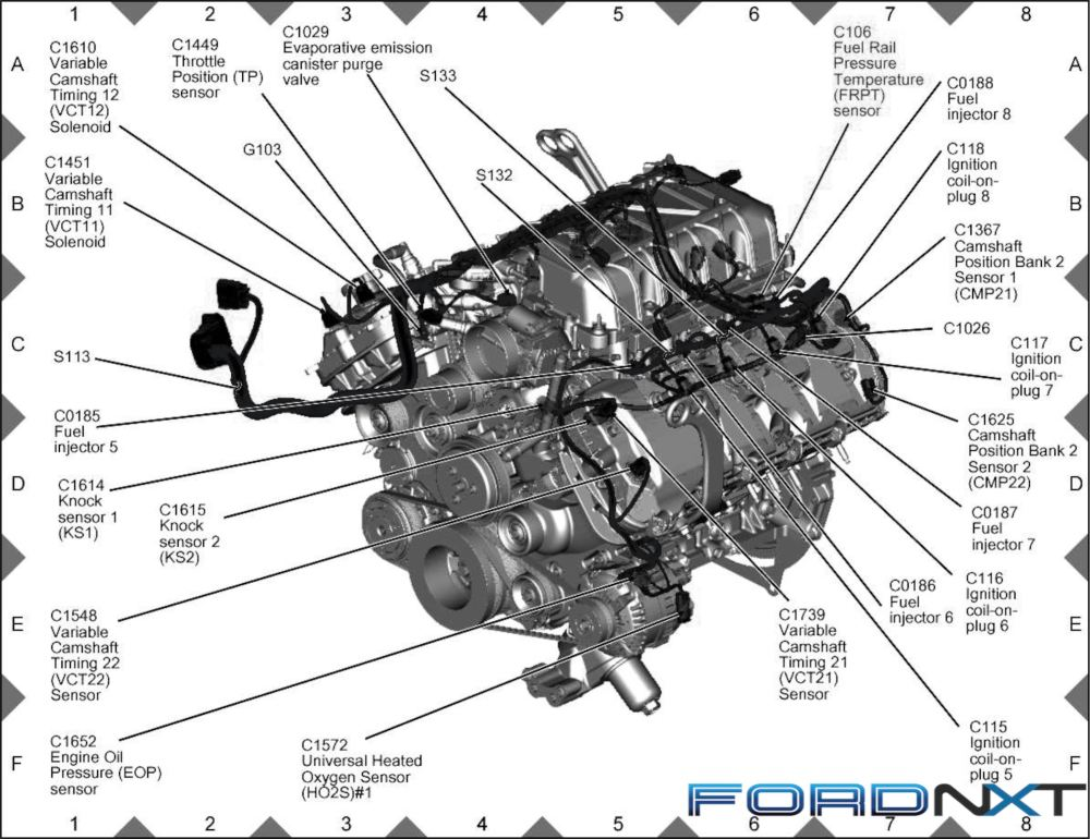 medium resolution of courtesy of two illustrations posted on ford s motorcraft service website we have an overall look at the 5 2 liter predator engine in illustrated form