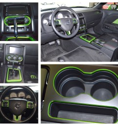 the chrome mopar t handle shifter and the custom painted console and steering wheel trim in green with envy  [ 1800 x 1800 Pixel ]