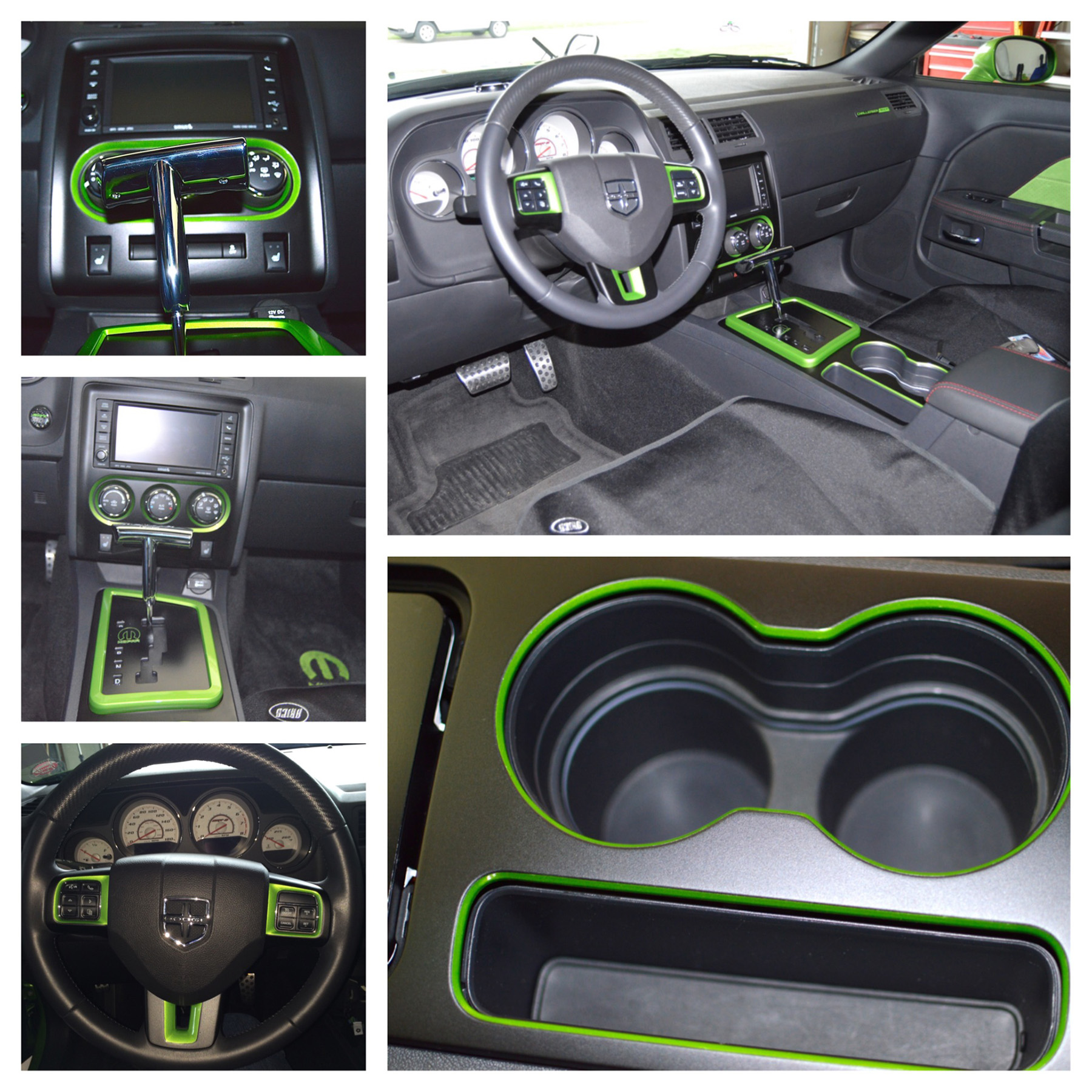 hight resolution of the chrome mopar t handle shifter and the custom painted console and steering wheel trim in green with envy
