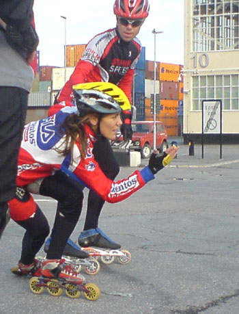 Teknikträning med Céline Weiss 2008-05-20. Mobilkamerafoto: Ulf Haase.
