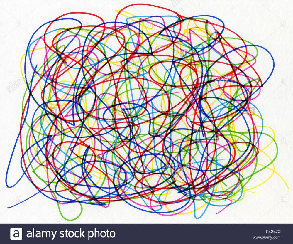 hight resolution of  colourful felt tip pen scribble on white paper