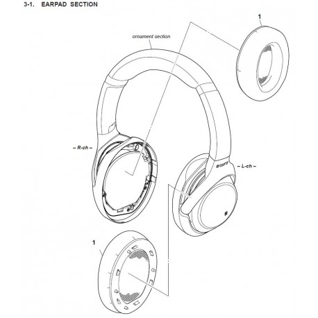 WH-1000XM3 Sony Audio Exploded Diagram