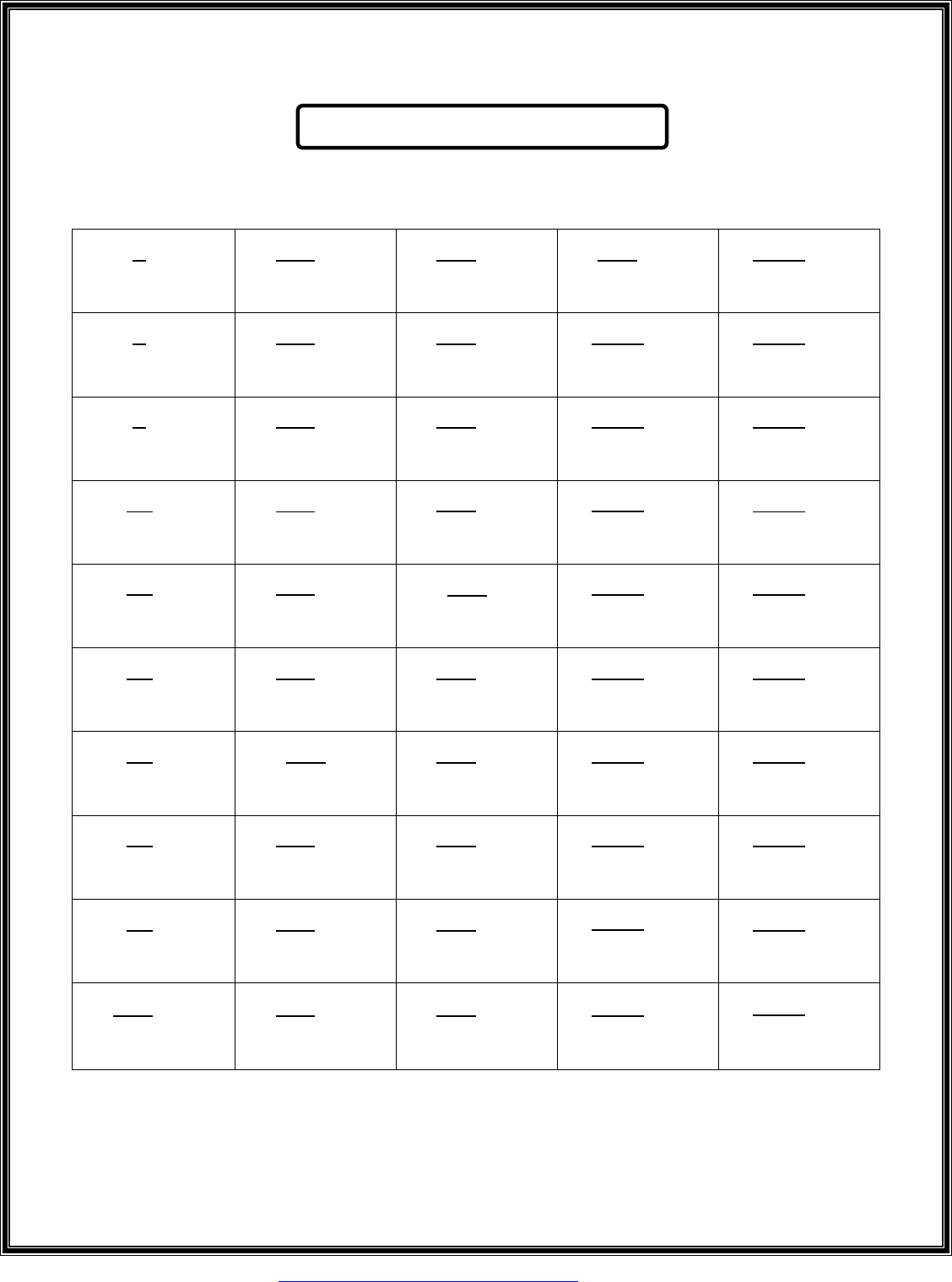 Free Perfect Square Roots Chart 1