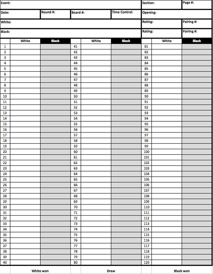Chess Score Sheet - Template Free Download | Speedy Template