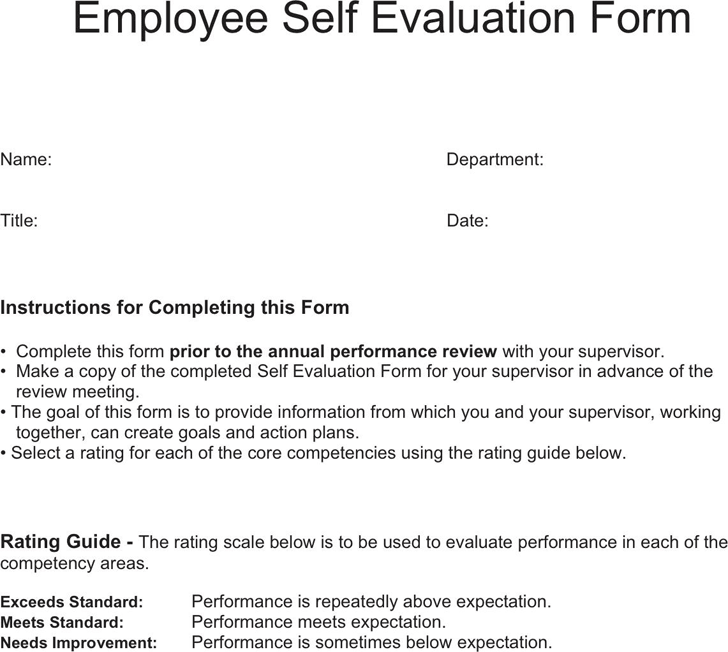 Employee self evaluation annual performance employee self
