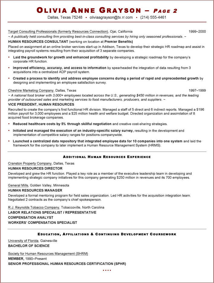 sample resume for working professionals