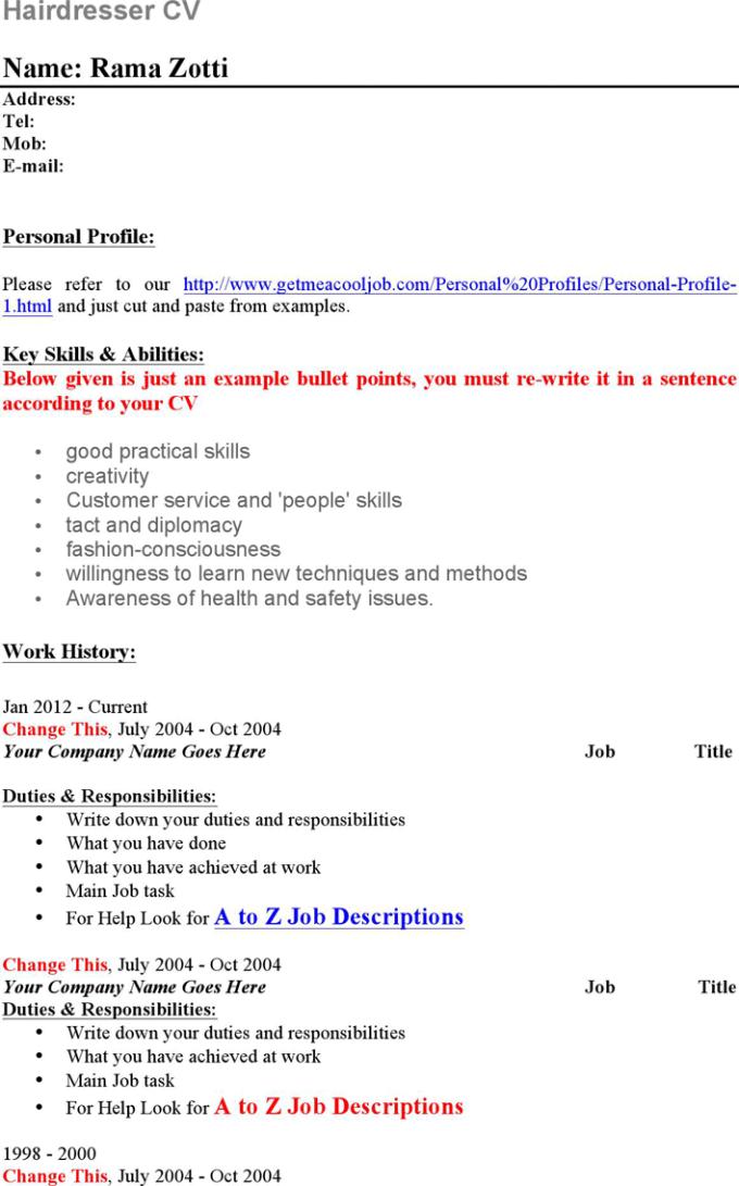 junior hair stylist resume sample hairsstyles - Hairdressing Resume Template