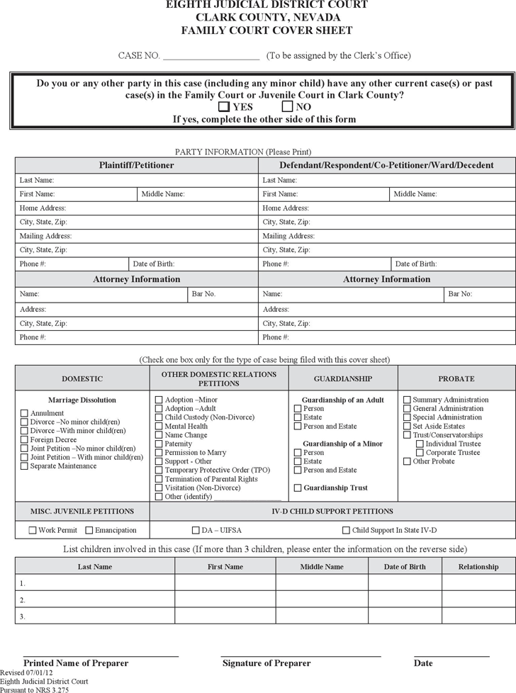 Free Nevada Family Court Cover Sheet  PDF  22KB  2 Pages