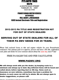 Free Pennsylvania Motor Vehicle Power of Attorney Form ...