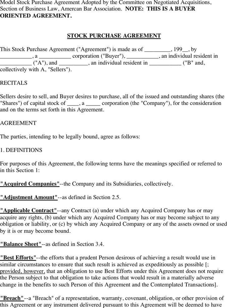 Stock Purchase Agreement - Template Free Download | Speedy Template