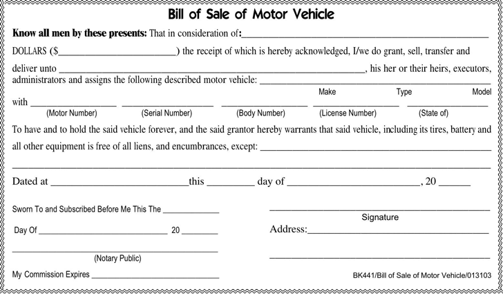 Free Tennessee Motor Vehicle Bill of Sale Form - PDF | 227KB | 1 Page(s)