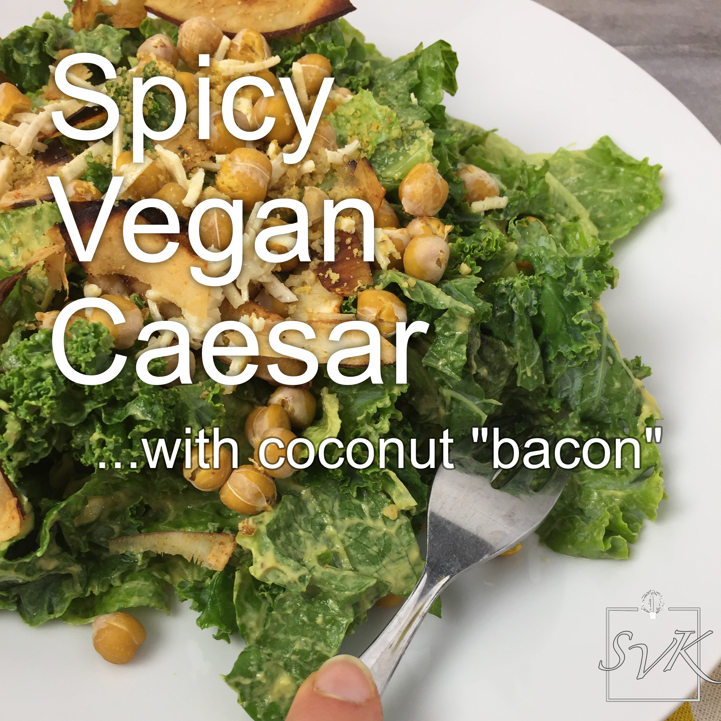 Spicy vegan caesar with coconut bacon
