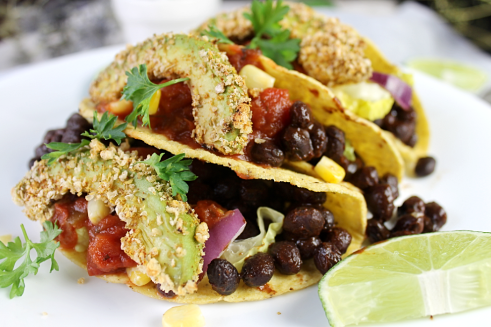 Delicious and easy avocado fries on tacos. Vegan Gluten free dinner recipe
